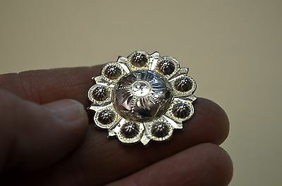 Outrageous Berry Bead FLEMING STERLING Western SADDLE CONCHO w/ Wood Screw Back