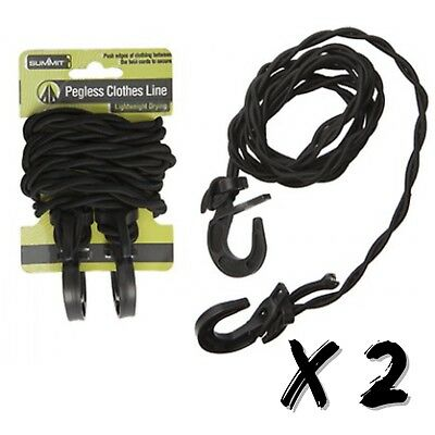 6ft Summit Travel Clothes Line Pegless Washing Clothesline Camping Caravan