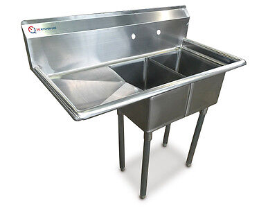 "EQ  2 Compartment Commercial Kitchen Sink Stainless Steel 19.5""x43.75""x42.5"""