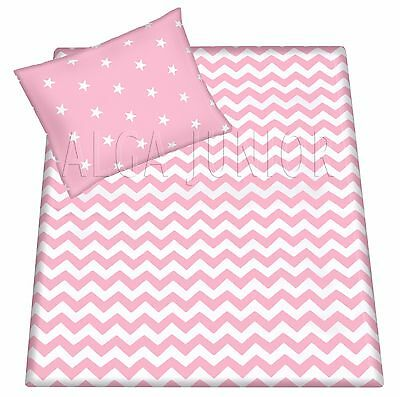 Baby cot/ cot bed reversible set duvet cover pillowcase sheet 100% cotton pink