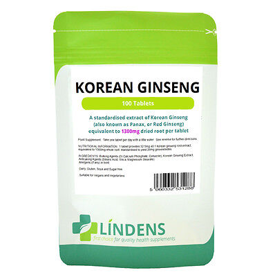 Korean Red Ginseng (panax) 1300mg -energy boost- (100 tablets) ENERGY BOOST