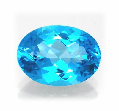 Natural Swiss Blue Topaz 12mm x 10mm Oval Cut Gem Gemstone