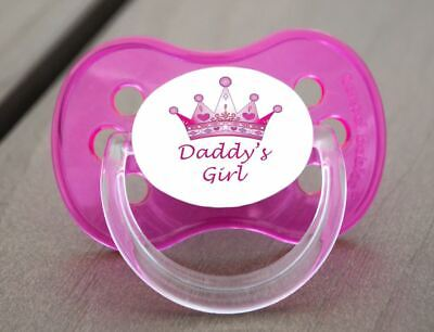 Unique Dummy Pacifier Soother, All Teats, Sizes & Colours, Daddy's Girl Crown