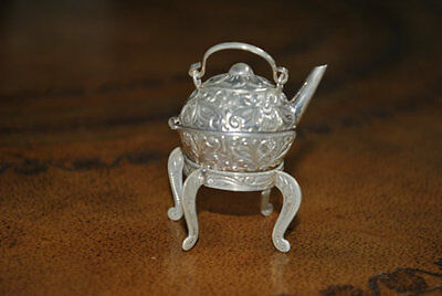 Sterling silver small oriental vintage teapot