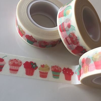 Washi Tape Pink & Mint Cupcakes 15Mm X 10Mtr Roll Plan Craft Scrap Wrap