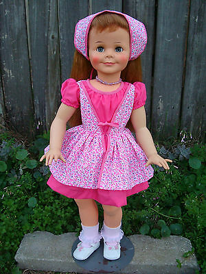 "Miss Ideal doll Reproduction Dress for a 28""-30"" tall "" BRIGHT PINK DRESS ONLY"""