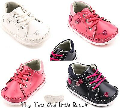 Girls Spring Autumn Hi Top First Soft Shoes Occasion Leather Insole Size UK 1 -4