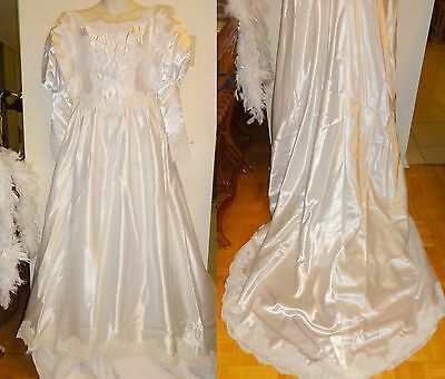 "Vintage Wedding Dress Xs 32-34"" Bust White Satin & Feather Boa Lace Gown Beaded"