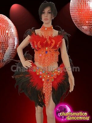 57efce994a CHARISMATICO Red orange black feathered sequinned show girl diva bra skirt