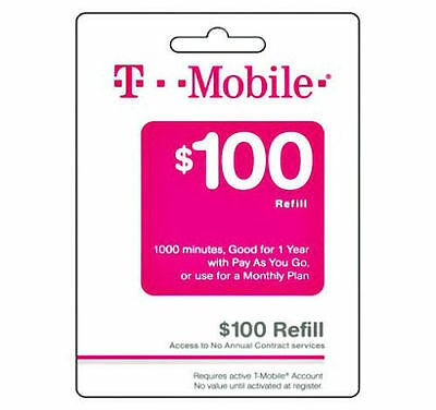 T-Mobile $100 FAST REFILL Card Credit applied DIRECTLY to PHONE Prepaid