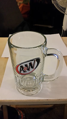 """Vintage A & W Root Beer 6"""" Tall Glass Mug by Anchor Hocking"""