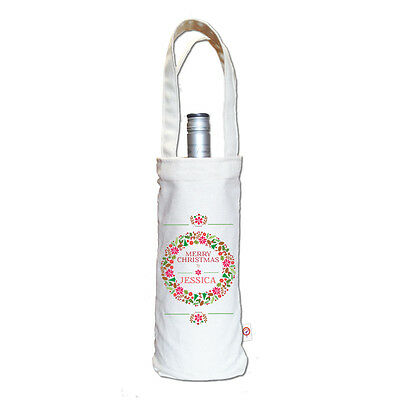 Colourful Wreath Personalised Christmas Gift Wine Bag