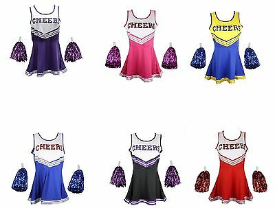 Cheerleader School Girl Fancy Dress Uniform Halloween Party Costume Outfit