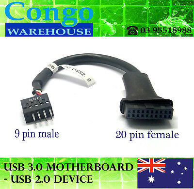 USB 3.0 20 Pin Female Header to USB 2.0 9 Pin Male Header Motherboard Adapter