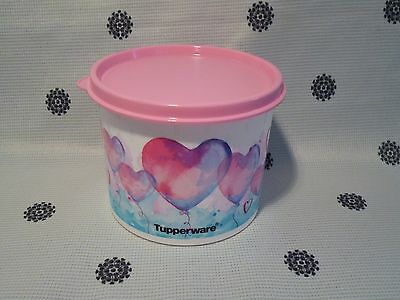 Tupperware Heart 600ml Canister Container Pink & Blue New