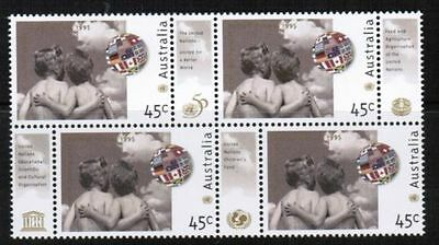 1995 Australian Decimal stamps - United Nations - MNH Block of 4