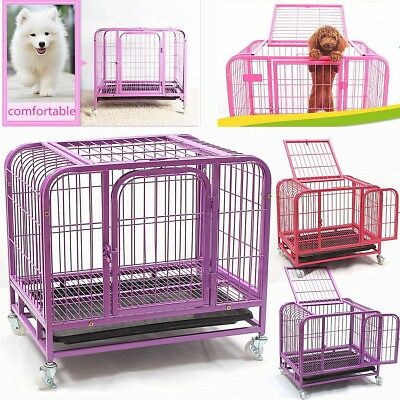 Heavy-Duty Folding Strong Steel Pet Dog Puppy Cage Crate Carrier Wheels 25''