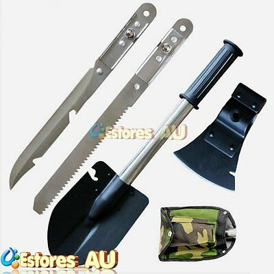 4 in1 Multi-function Knife Saw Axe Shovel Camping Hiking Emergency Survival【AU】