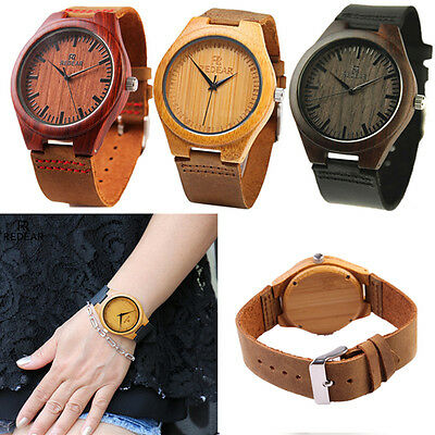 Fashion Luxury Men's Women's Bamboo Wood Watch Quartz Leather Wristwatches