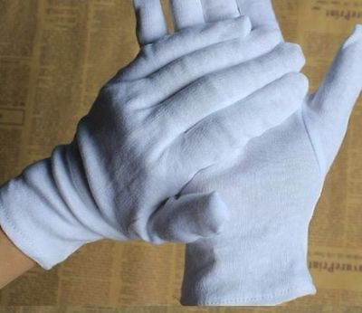 10 Pcs 5 Pairs L Cotton White Soft Inner Gloves Hand Protector Jewellery Handing