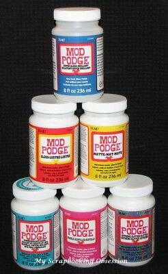 MOD PODGE (Choose from MATTE/GLOSS/GLITTER) Waterbase sealer, glue, finish 236ml