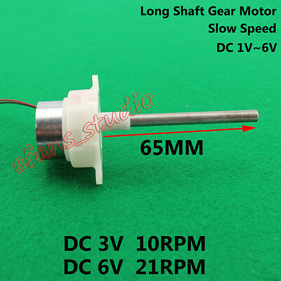 Long Shaft Turbine Worm Gear Motor DC 1.5V~6V 10RPM-21RPM Slow Speed Reduction