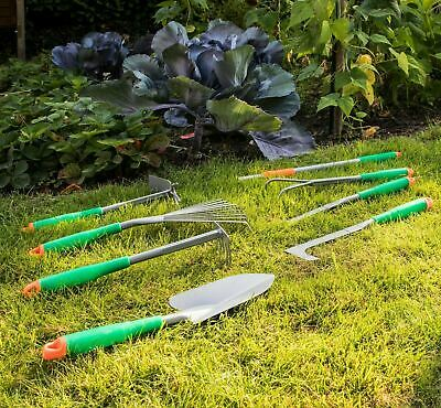 8 Piece Metal Garden Hand Tool Set Telescopic Handle Gardening Fork Trowel Rake