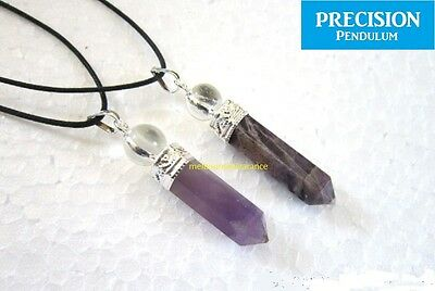 Amethyst Point w/ Quartz Crystal Ball Top Precision Pendulum Pendant Necklace