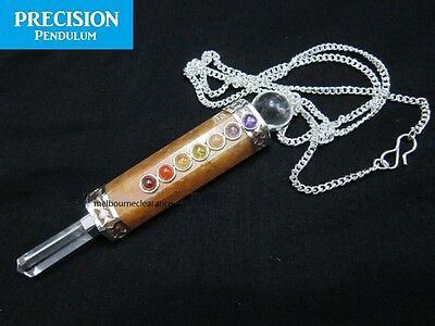 Golden Quartz Crystal Chakra Healing Wand Precision Pendulum Pendant Necklace