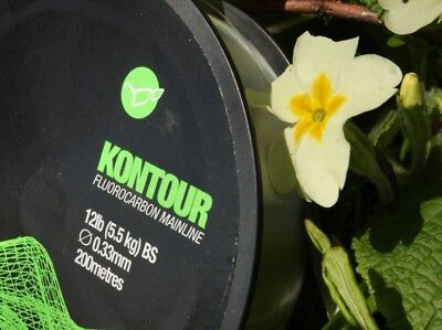 NEW Korda Kontour Fluorocarbon Carp Fishing Main Line - 12lb - 0.33mm - 200m