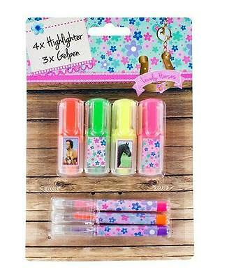 Pretty Pony horse Pack of 4 Highlighters & 3 Gel Pens, stationary gift pack