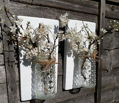 Pair Of Recycled Rustic Wood Wooden Wall Mounted Flower Jar Sconce Candle Holder