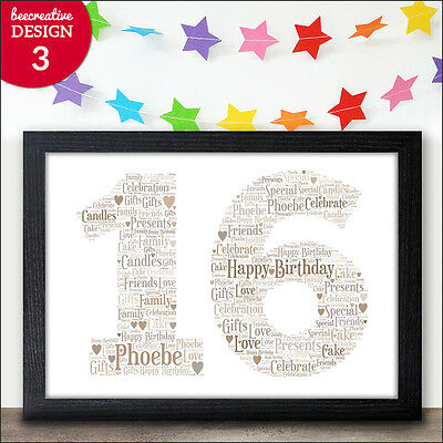 Sweet Sixteen 16th Birthday Present - Personalised 16th Birthday Keepsake Gifts