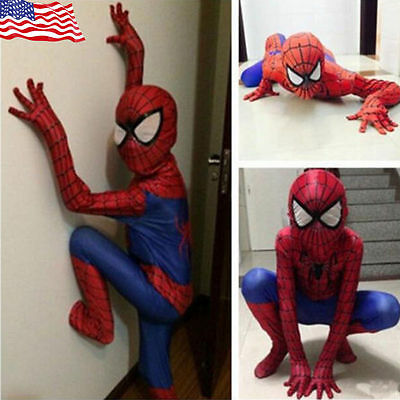 Christmas Party Boy Spiderman Costume Kids Superhero Cosplay Bodysuit Men
