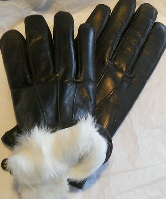 Mens White Lined Rabbit Fur Genuine Lambskin Leather Gloves