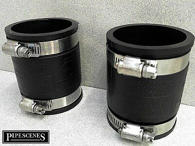 """2 x 50mm or 2"""" BandSeal Type Flex Seal Rubber Coupler & Jubilee Clips"""