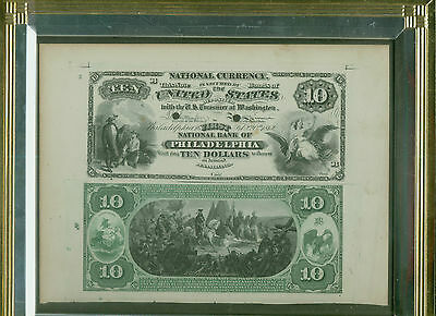 Ten Dollar National National Currency First Charter Proof 1875 Philadelphia  -