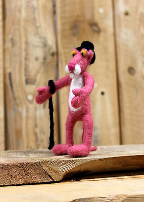 Pink panther sculpture, felted wool pink panther, felted panther decoration