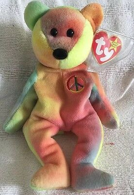 Original Ty Beanie Baby Peace Bear - Extremely Rare Version! **Mint**