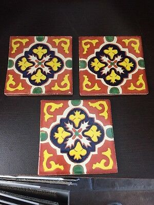 3 Beautiful Hand Painted Mexican Satillo Tiles 4 X 4 Floor Backsplash Deco Tiles