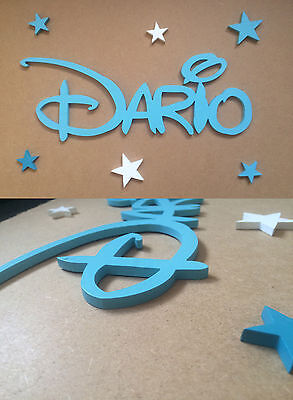 Personalised Wooden Name Plaques Letters DISNEY Style,Wall,Door,5 mm  Plywood