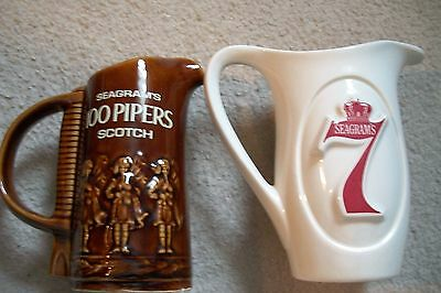 Two Vintage Seagrams Pitchers