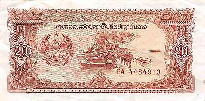 Laos  20 Kip ND. 1979  P 28 ** Replacement **  circulated Banknote