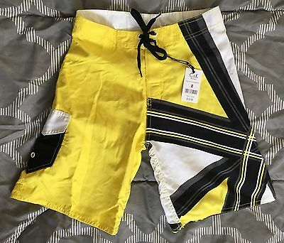 NEW C & K Board Shorts Swim Trunks Boys SZ 8, 10, 12  Yellow - Retails $9.95 NWT