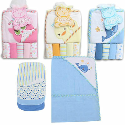 Little Mimos Baby Bath Hooded Towel 6pc W/Wash cloth Blue