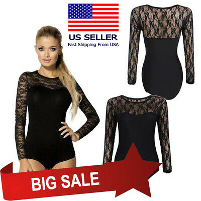 15d9e7bfaa Womens Floral Lace Black Sheer Long Sleeve Solid Bodysuit Leotard Jumpsuit  M-3XL