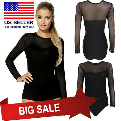 Womens Black Sheer Mesh Long Sleeve Solid Bodysuit Leotard Jumpsuit Ballet M-3XL