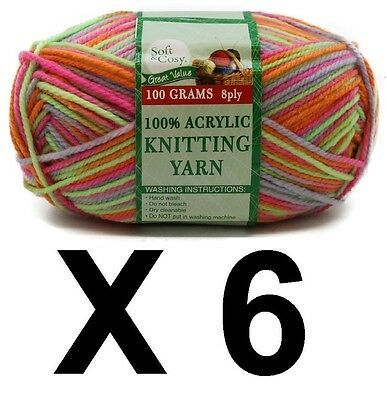 Knitting wool 6 x 100g acrylic yarn 8ply Multi Colour Fluro 100% Brand New