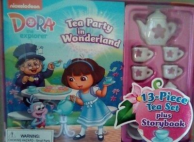 Dora The Explorer Tea Party in Wonderland Storybook and 13 Piece Tea Set
