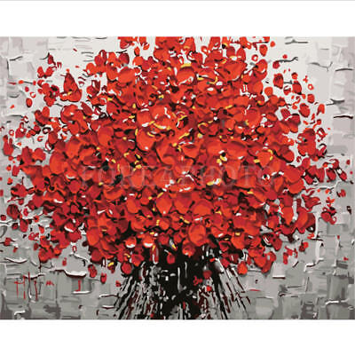 """16""""x20"""" Red Flower Oil Painting DIY Paint By Number Kit Living Room Home Decor"""